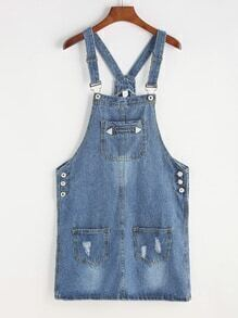 Ripped Two Pockets Pinafore Denim Dress