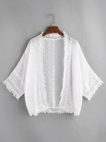 Tassel Trim Embroidered Top