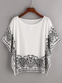 Skull Print Batwing Sleeve T-shirt