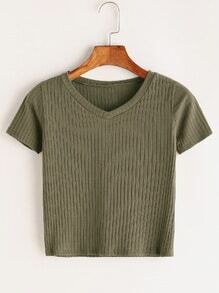 V Neck Ribbed Knitted T-shirt