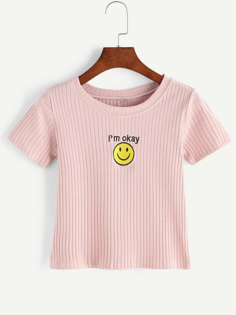 d02603c9af Smiley Face Embroidered Ribbed Knitted T-shirt