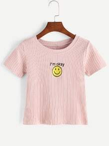 Smiley Face Embroidered Ribbed Knitted T-shirt