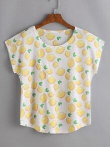 Fruit Print Curved T-shirt