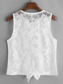 Knotted Back Contrast Lace Tank Top