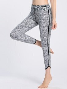 Contrast Trim Abstract Print Capri Leggings