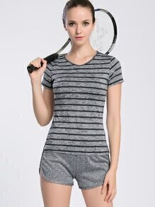 Heather Grey Striped T-shirt