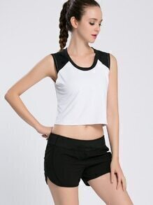 Color Block Crop Tank Top