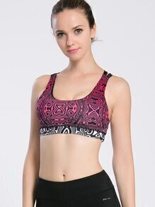 Abstract Print Lattice Back Gym Bra