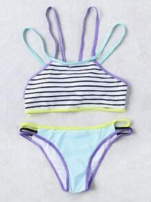 Color Block Striped Detail Strappy Bikini Set