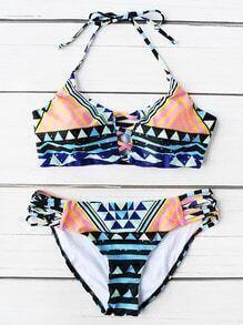 Geometric Print Ladder Cutout Halter Bikini Set