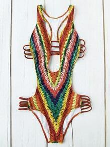 Color Block Plunge Neck Ladder Cutout Monokini