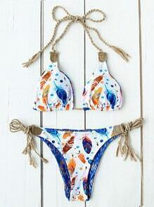Feather Print Side Tie Triangle Bikini Set