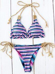 Striped Printed Side Tie Triangle Bikini Set