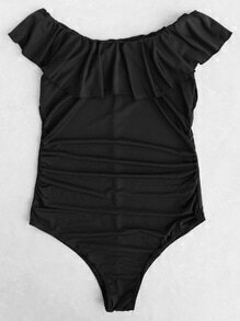 Ruffle Detail Off The Shoulder One-Piece Swimwear