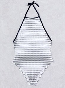 Striped Detail Halter One-Piece Swimwear