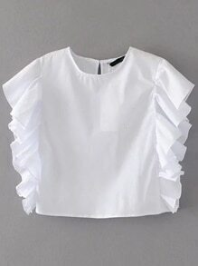 Ruffle Trim Crop Top