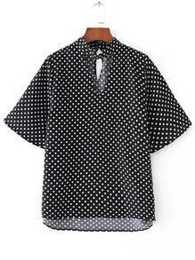 Polka Dot Cut Out Neck High Low Blouse