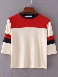Color Block Round Neck Knitwear