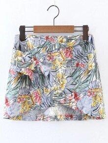 Flower Print Overlap Front Skirt