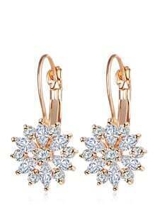 Flower Rhinestone Hoop Earrings