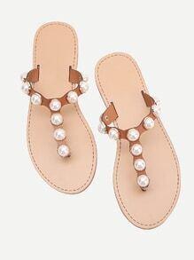 Faux Pearl Design Toe Post Slide Sandals
