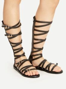 Buckle Strap Criss Cross Gladiator Sandals