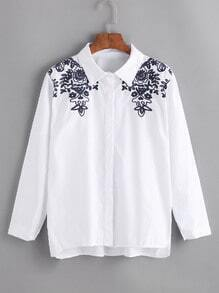 Embroidered High Low Shirt
