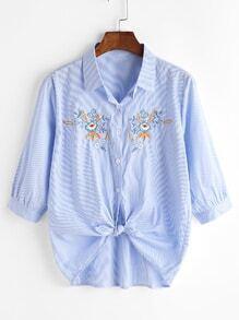 Pinstripe Knot Front Dip Hem Shirt