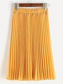 Elastic Waist Pleated Midi Skirt