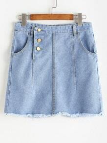 Single Breasted Side Distressed Frayed Hem Denim Skirt