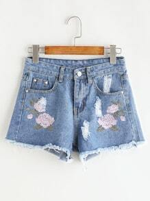 Shorts en denim de borde crudo