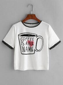 Contrast Trim Coffee Print T-shirt