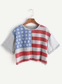 American Flag Print Cuffed T-shirt