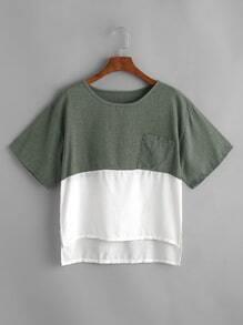 Camiseta de color block con bolsillo delantero