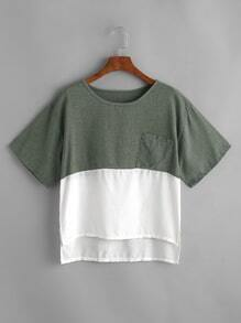 Color Block Dip Hem Pocket T-shirt