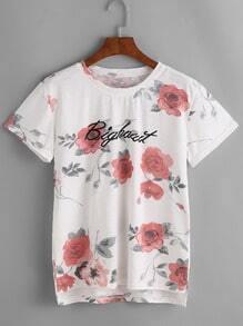 Floral And Graphic Print Dip Hem T-shirt