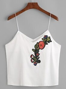 Embroidered V Neck Cami Top