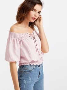 Bardot Shirred Eyelet Lace Up Front Elastic Waist Blouse