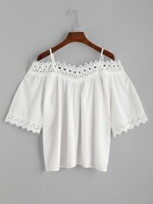 Cold Shoulder Hollow Out Lace Hem Blouse
