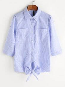 Pinstriped Bow Tie Hem Dual Pockets Blouse