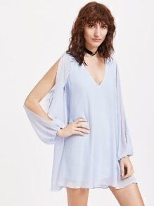 Plunging V Neckline Split Bishop Sleeve Open Back Chiffon Dress