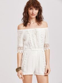 Bardot Contrast Lace Tie Front Pleated Romper