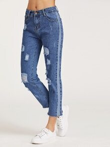 Ripped Asymmetric Fray Hem Washed Jeans