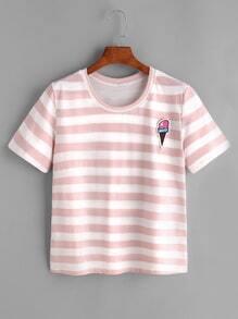 Camiseta a rayas estampada de helado