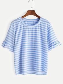 Camiseta contraste a rayas con fuelle