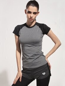 Contrast Raglan Sleeve Gym T-Shirt