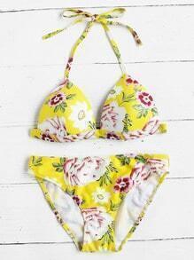 Sets de bikini triángulo con estampado floral