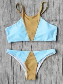 Sets de bikini con tiras delgadas de color block
