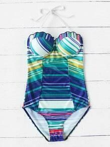 Striped Print Scalloped Trim Bustier One-Piece Swimwear