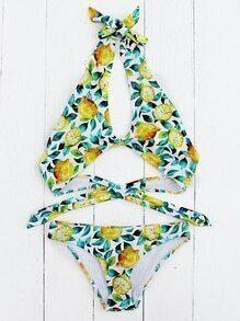 Sets de bikini con abertura estampado de fruta